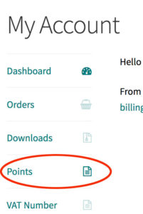 My Account Points Page